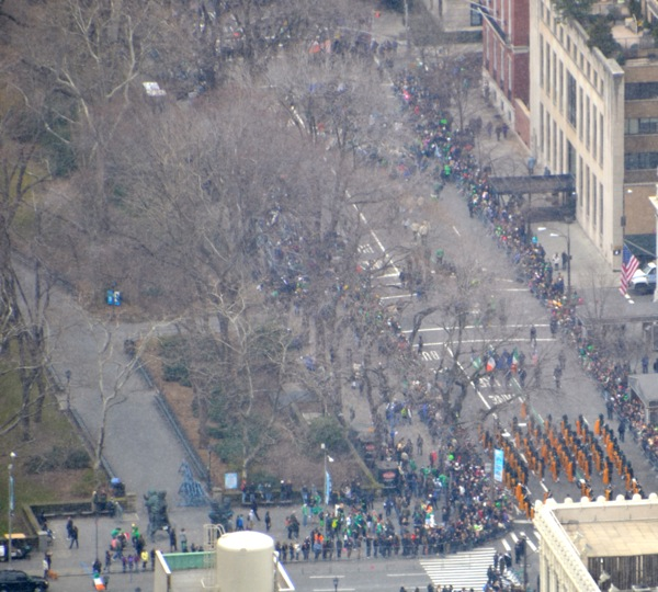 St Patrick's Day parade on Fifth Ave from Top of the Rock