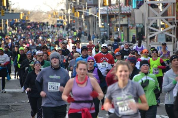 New York Half Marathon runners enter TImes Square en mass