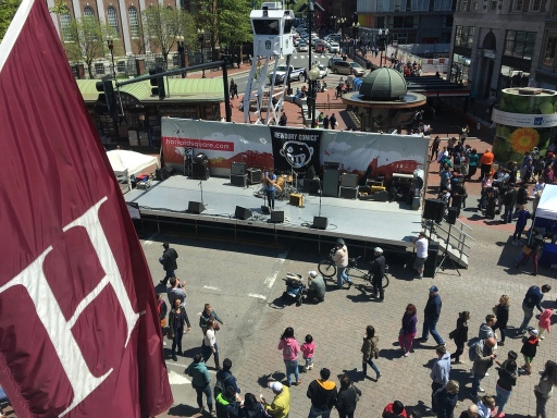 Band playing in Harvard Square