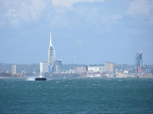 Portsmouth skyline with a hovercraft approaching